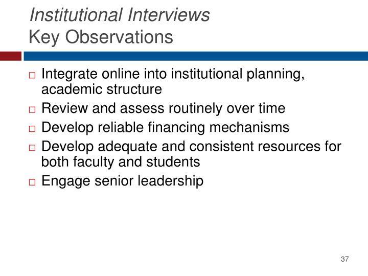 Institutional Interviews
