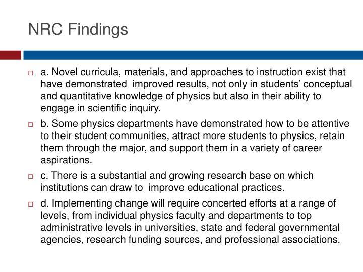 NRC Findings