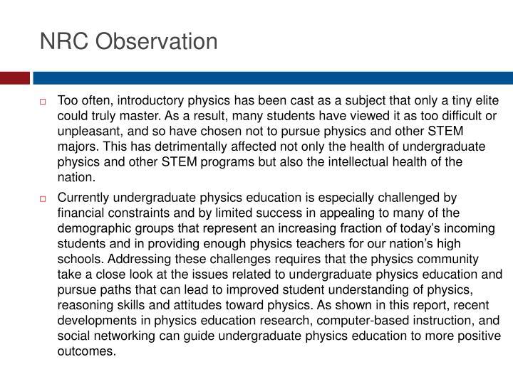 NRC Observation