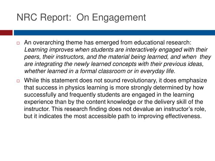 NRC Report:  On Engagement
