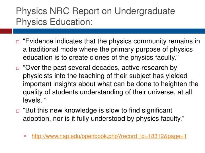 Physics NRC Report on Undergraduate Physics Education: