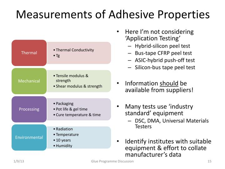 Measurements of Adhesive Properties