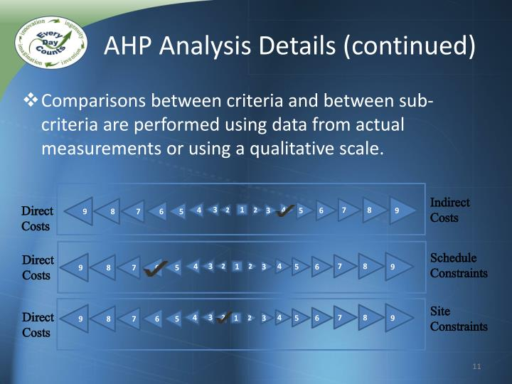 AHP Analysis Details (continued)