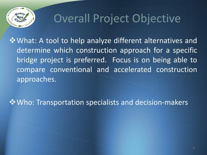 Overall project objective