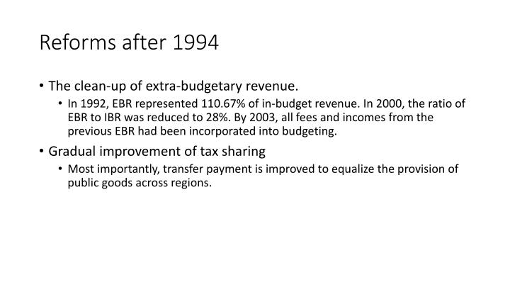 Reforms after 1994