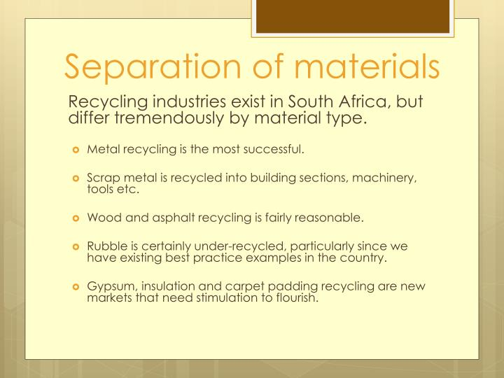 Separation of materials
