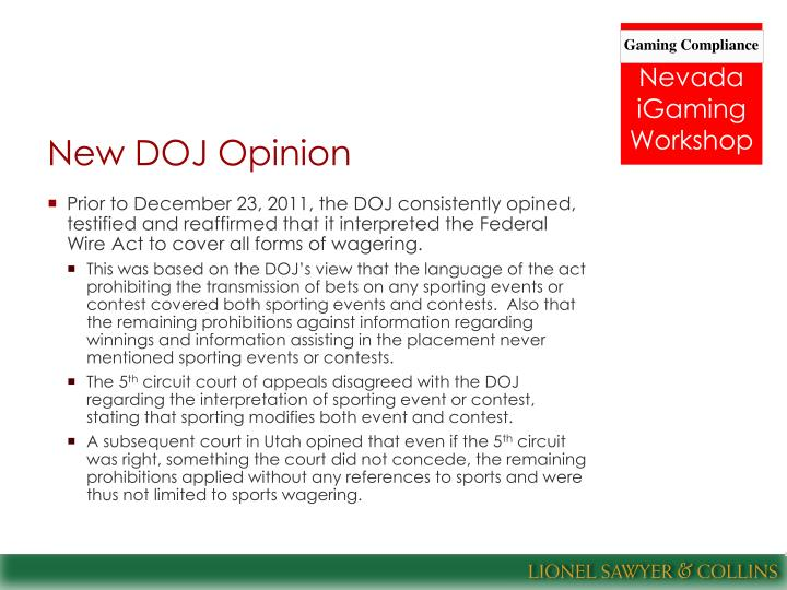 New DOJ Opinion