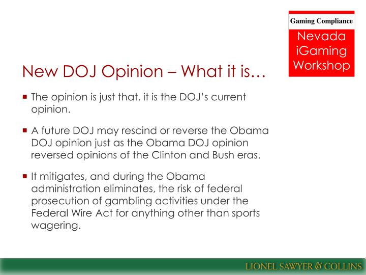 New DOJ Opinion – What it is…