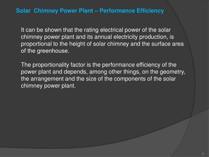 Solar  Chimney Power Plant – Performance Efficiency