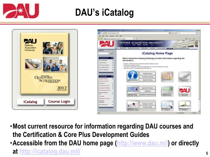 dau certification courses icatalog briefing students mil ppt powerpoint presentation accessible regarding guides resource development core current plus