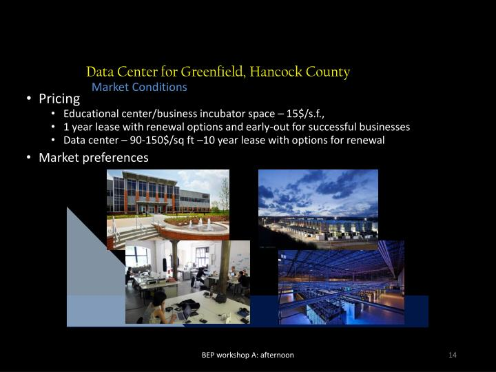 Data Center for Greenfield, Hancock County