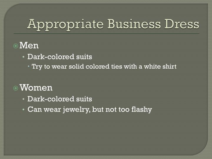 Appropriate Business Dress