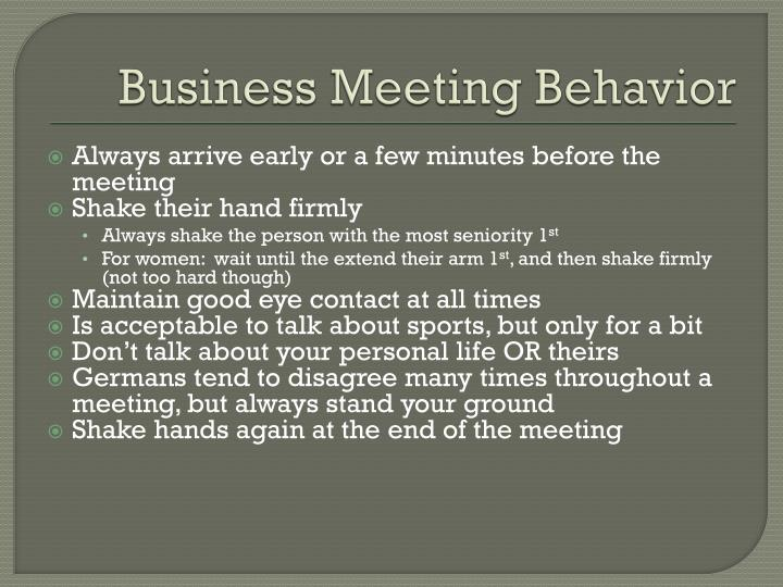 Business Meeting Behavior