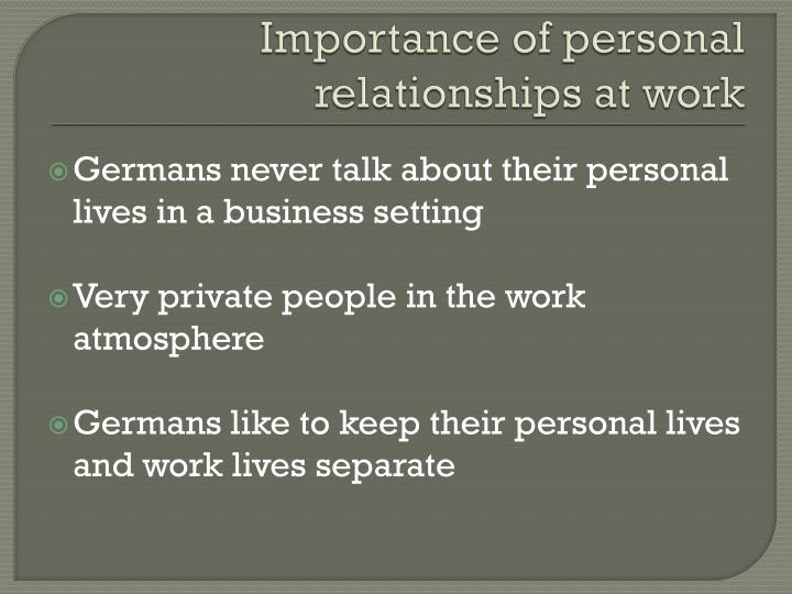 Importance of personal relationships at work