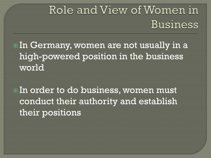 Role and View of Women in Business
