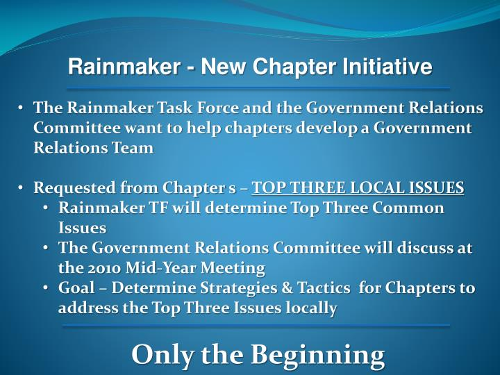 Rainmaker - New Chapter Initiative