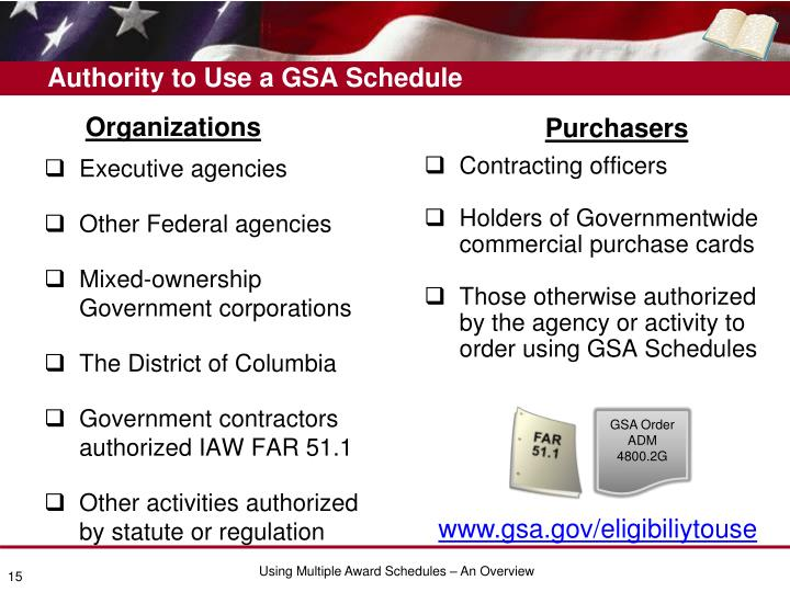 Authority to Use a GSA Schedule