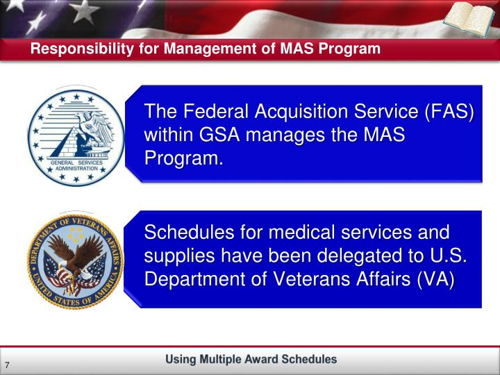 Responsibility for Management of MAS Program
