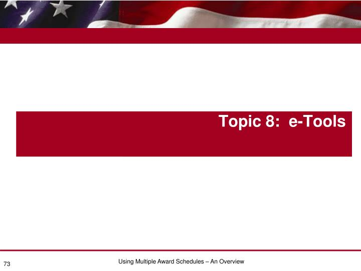 Topic 8:  e-Tools
