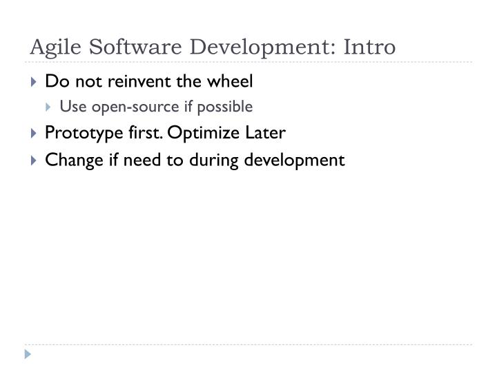 Agile Software Development: Intro