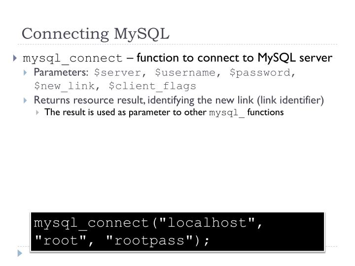 Connecting MySQL