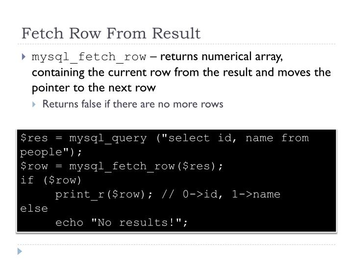 Fetch Row From Result