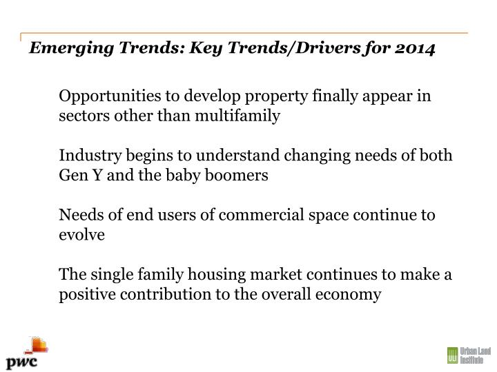 Emerging Trends: Key Trends/Drivers for 2014