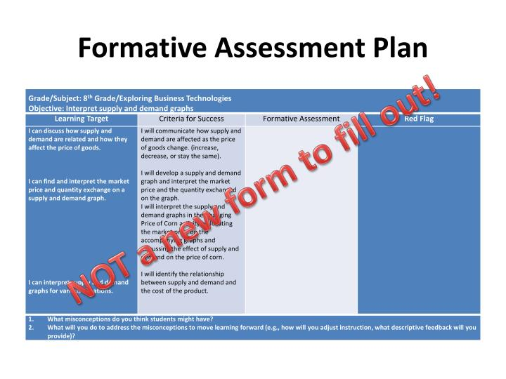 Formative Assessment Plan