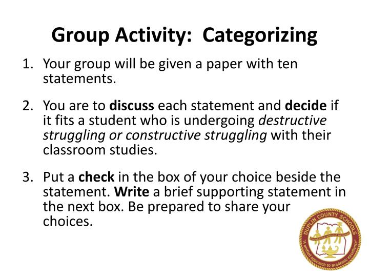 Group Activity:  Categorizing