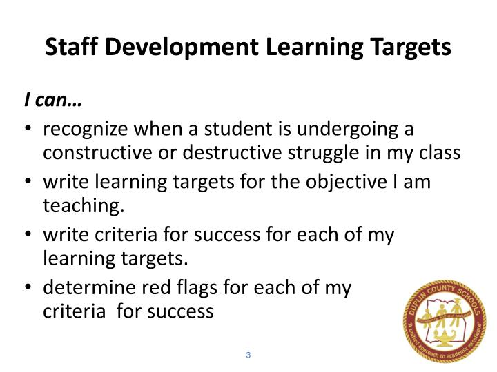 Staff development learning targets