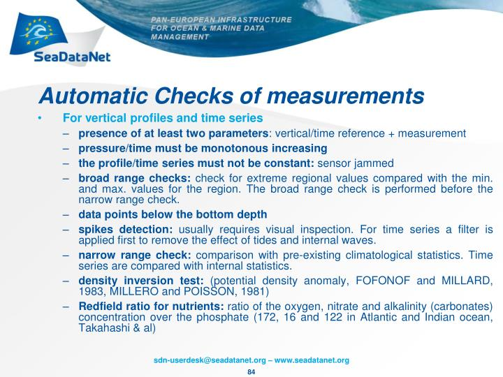 Automatic Checks of measurements