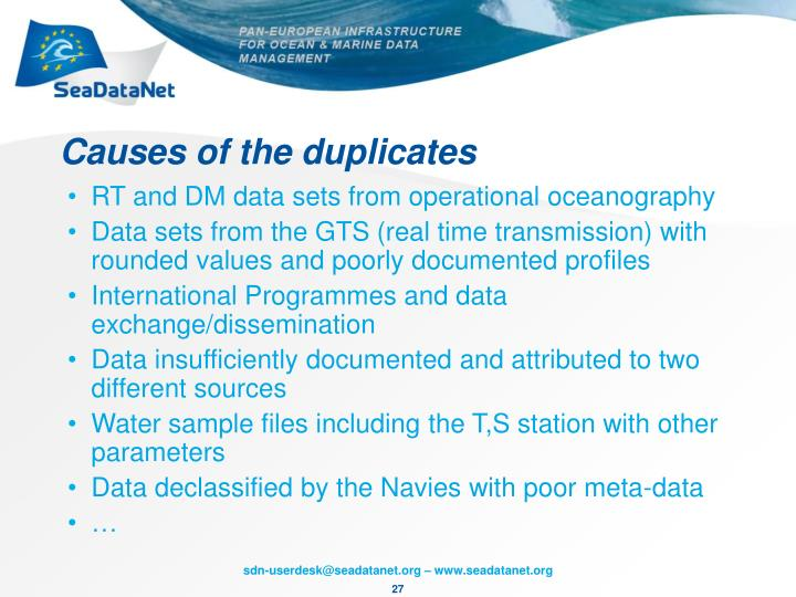 Causes of the duplicates