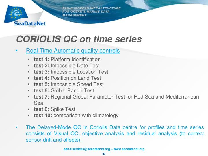 CORIOLIS QC on time series