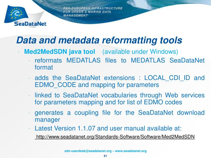 Data and metadata reformatting tools