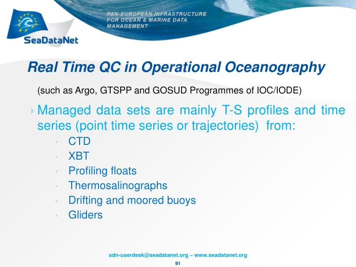 Real Time QC in Operational Oceanography