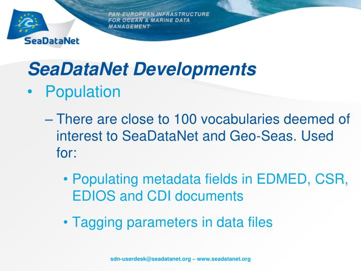SeaDataNet Developments