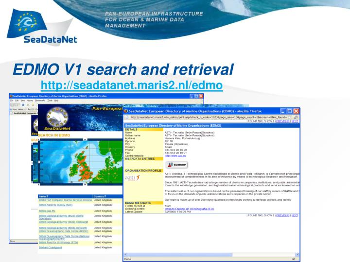 EDMO V1 search and retrieval