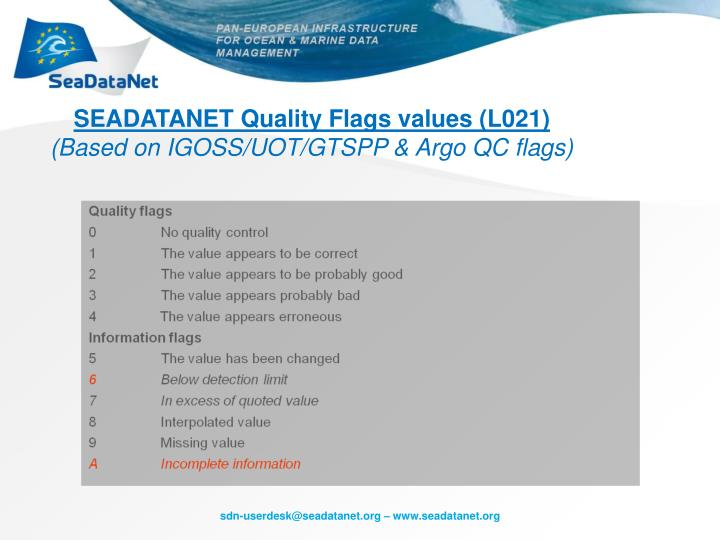 SEADATANET Quality Flags values (L021)