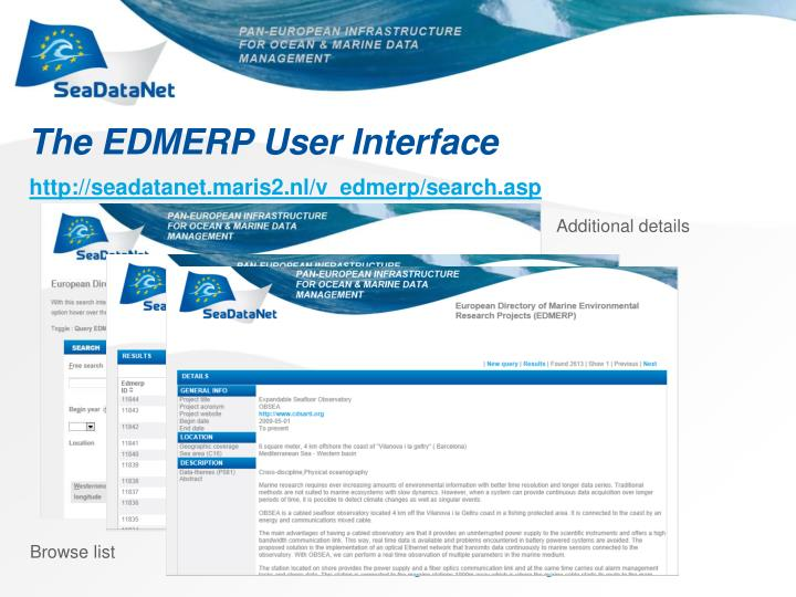 The EDMERP User Interface