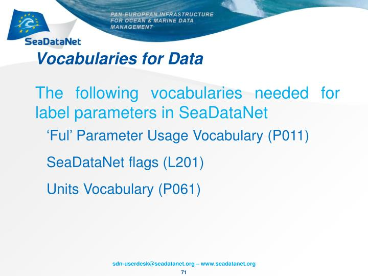Vocabularies for Data