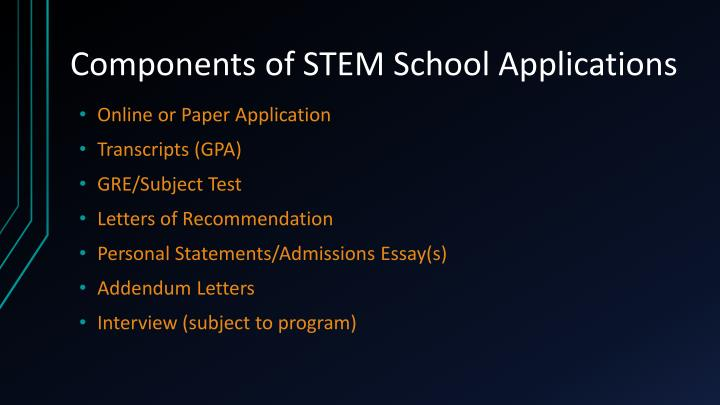 Components of STEM School Applications