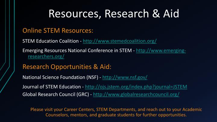 Resources, Research & Aid