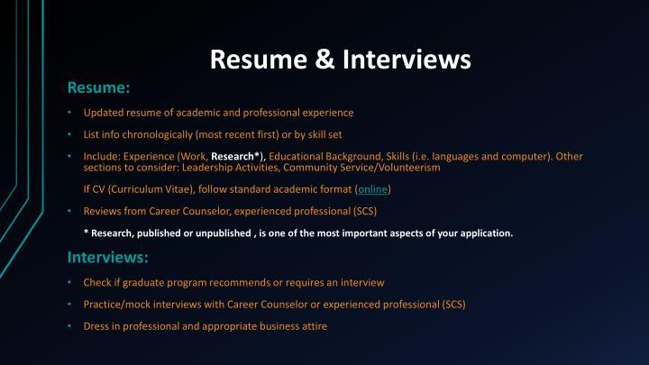 Resume & Interviews
