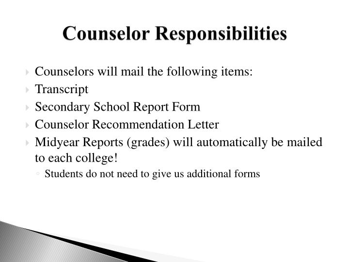 Counselor Responsibilities
