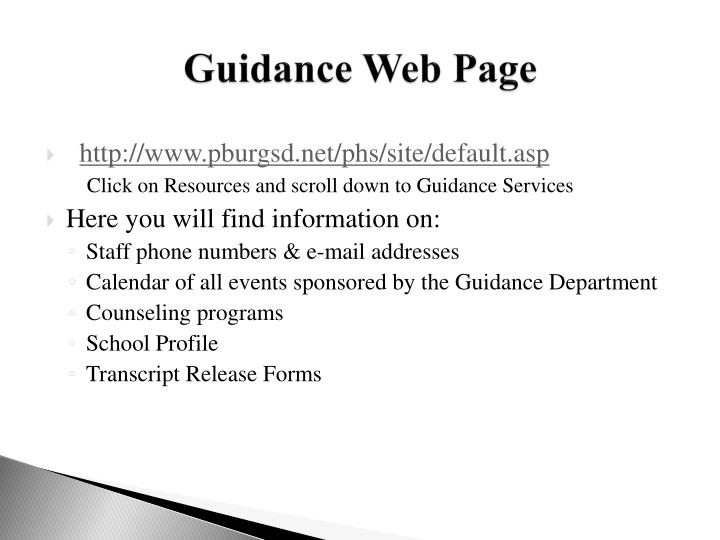 Guidance Web Page