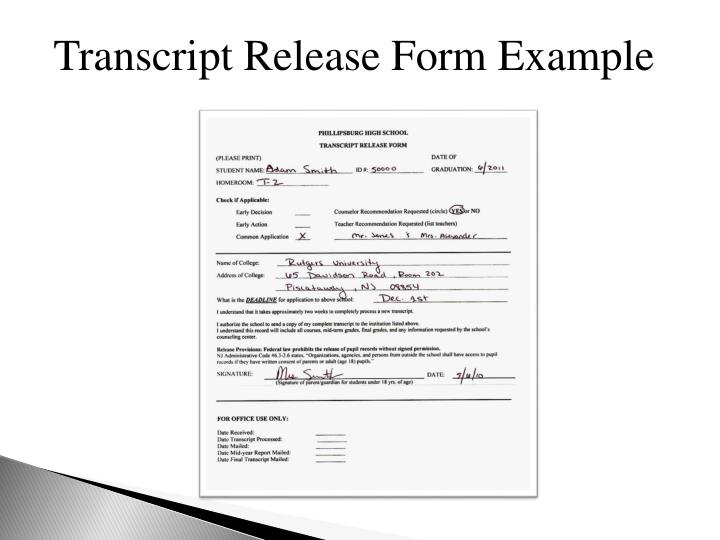 Transcript Release Form Example