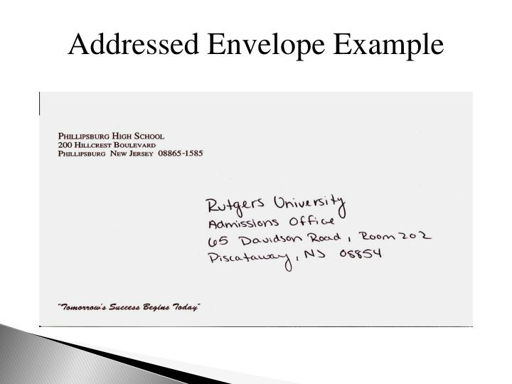 Addressed Envelope Example