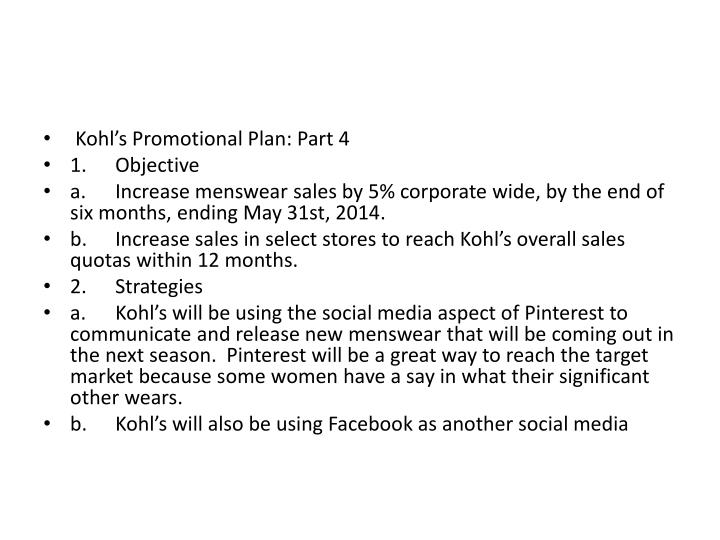 Kohl's Promotional Plan: Part 4