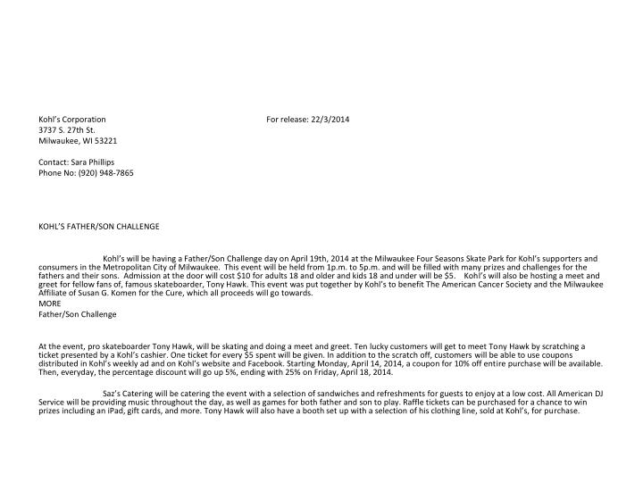 Kohl's Corporation                                                                                For release: 22/3/2014