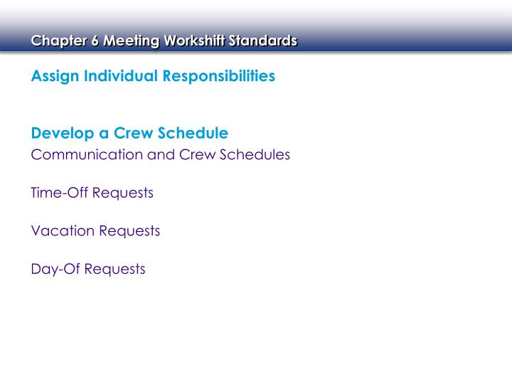 Assign Individual Responsibilities